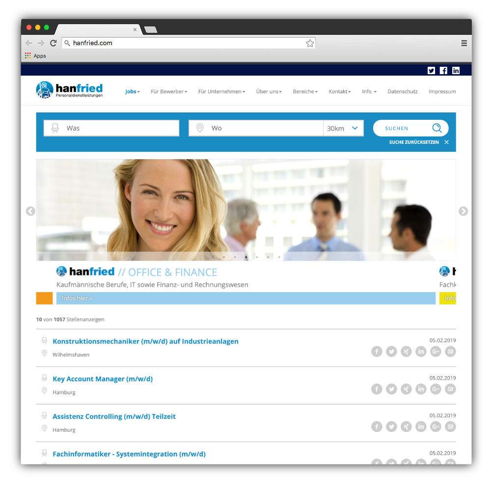 Website hanfried GmbH