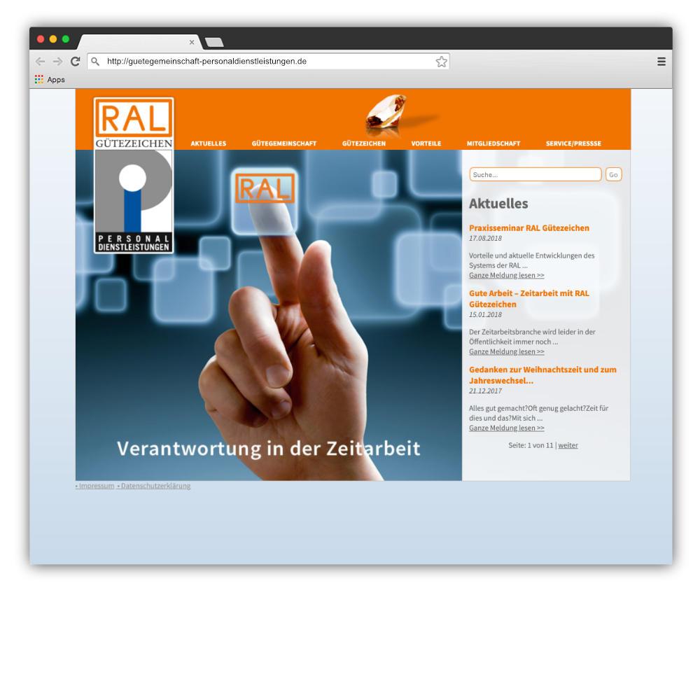 Website Gütegemeinschaft Personaldienstleistungen