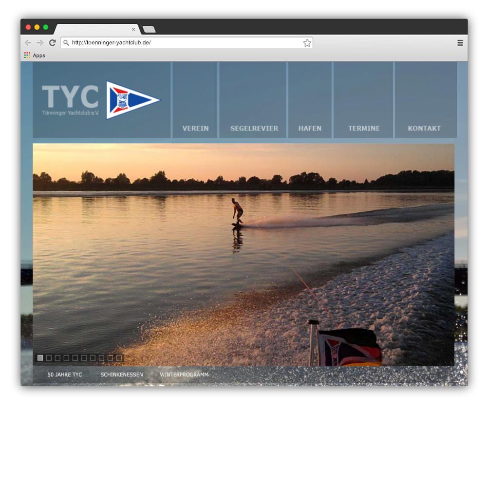 Website Tönninger Yachtclub