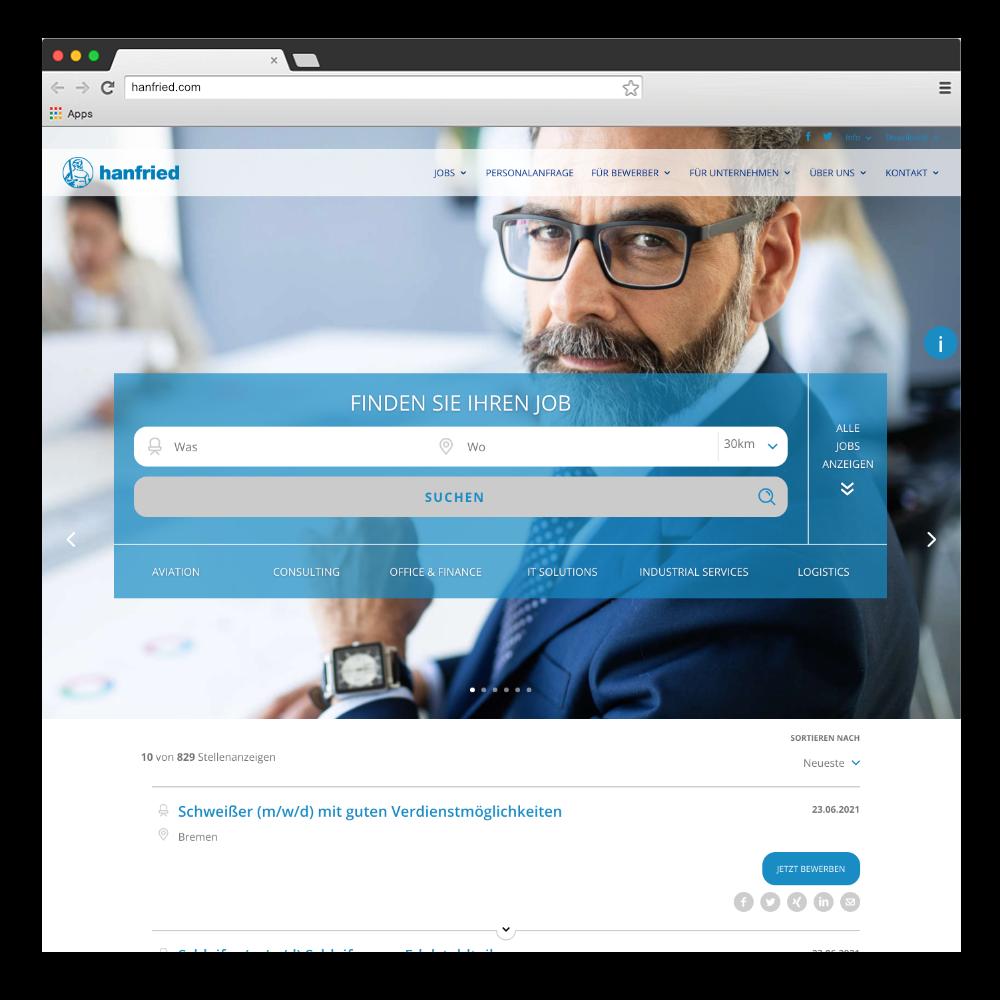 Relaunch hanfried.com Screenshot